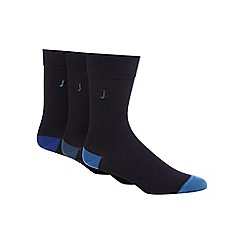 J by Jasper Conran - Pack of three navy reinforced socks