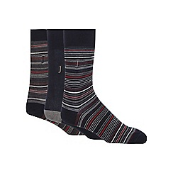 J by Jasper Conran - Pack of three navy striped socks