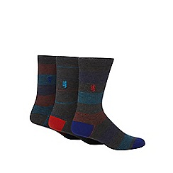 Pringle - Pack of three grey fine striped socks