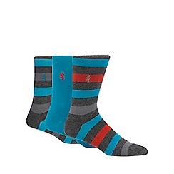 Pringle - Pack of three turquoise striped socks