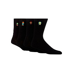 Red Herring - Pack of four black 'funky skulls' embroidered socks