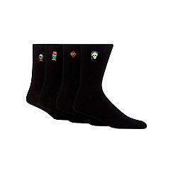 Red Herring - Pack of four black 'funky skulls' embroidered socks