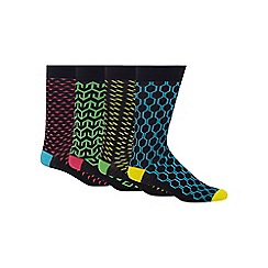 Red Herring - Pack of four multi-coloured geometric print socks