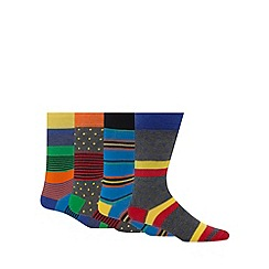Red Herring - Pack of four multi-coloured spots and striped print socks