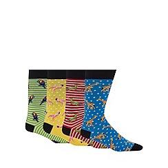 Red Herring - Pack of four exotic animal print socks