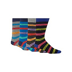 Red Herring - Pack of four multi-coloured striped print socks