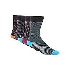 Freshen Up Your Feet - Pack of five multi-coloured patterned socks