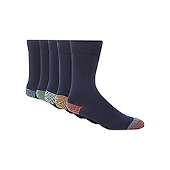 Freshen Up Your Feet - Pack of five navy striped tip socks