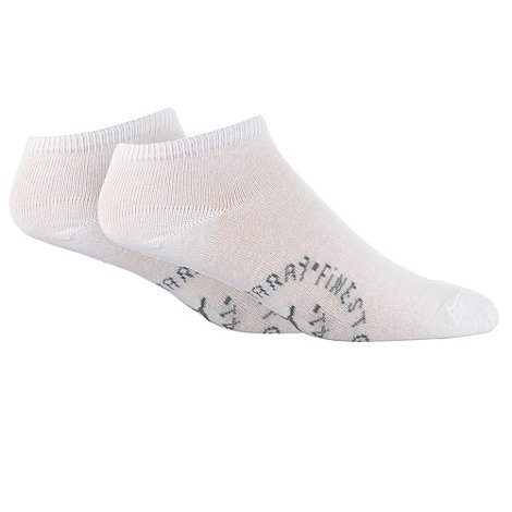 Mantaray - Pack of two white logo stamped trainer socks