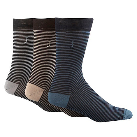 J by Jasper Conran - Designer pack of three beige navy and grey feeder striped socks