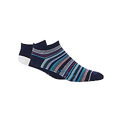 Mantaray - Pack of two navy striped print socks