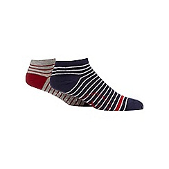 Mantaray - Pack of two navy and grey striped socks