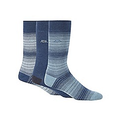 RJR.John Rocha - Pack of three blue graduated striped socks