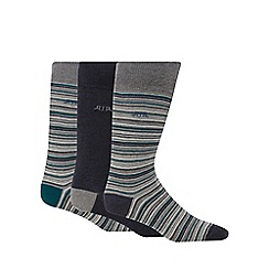 RJR.John Rocha - Pack of three grey fine striped socks