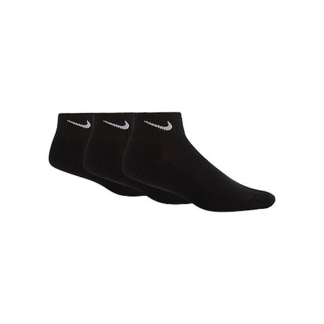 Nike - Pack of three black ribbed trainer socks