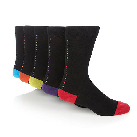 Freshen Up Your Feet - Pack of five black linear square patterned socks
