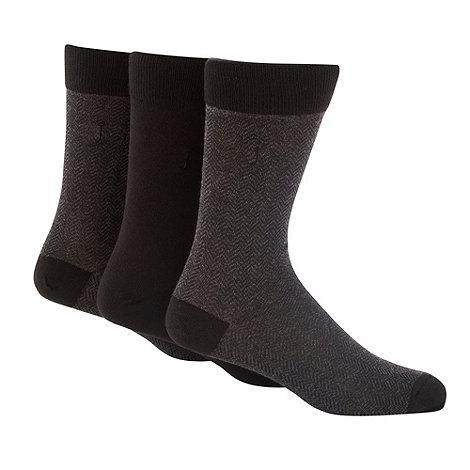 J by Jasper Conran - Pack of three black plain and herringbone socks