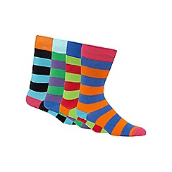 Red Herring - Pack of four blue block striped socks