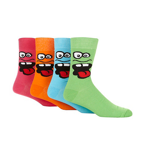 Red Herring - Pack of four bright funny face embroidered socks