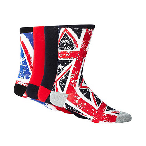 Red Herring - Pack of four navy +Union Jack+ socks