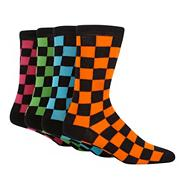 Pack of four black chequered socks