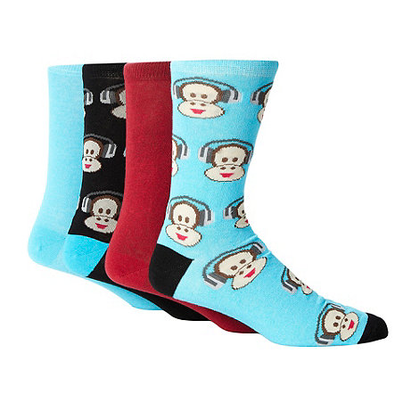 Red Herring - Pack of four blue plain and monkey patterned socks