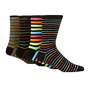 Red Herring - Pack of four black rainbow striped socks
