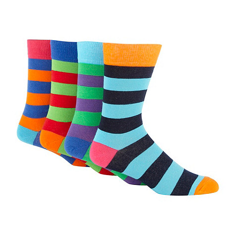 Red Herring - Pack of four orange bold striped socks