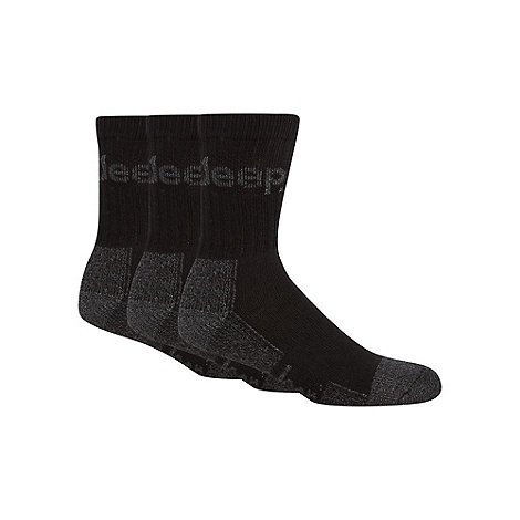 Jeep - Pack of three black woven logo boot socks