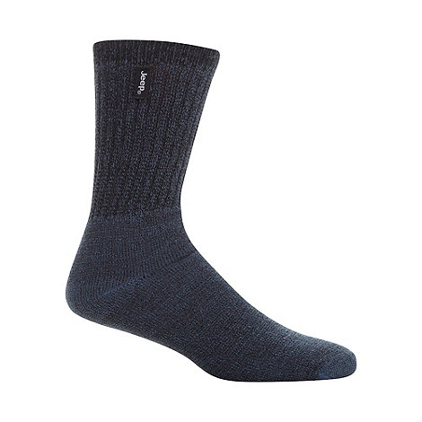Jeep - Pack of three blue ribbed boot socks