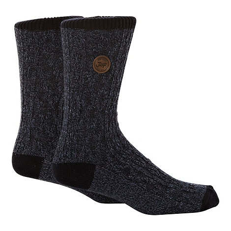 Jeep - Pack of two blue mottled cable knitted socks