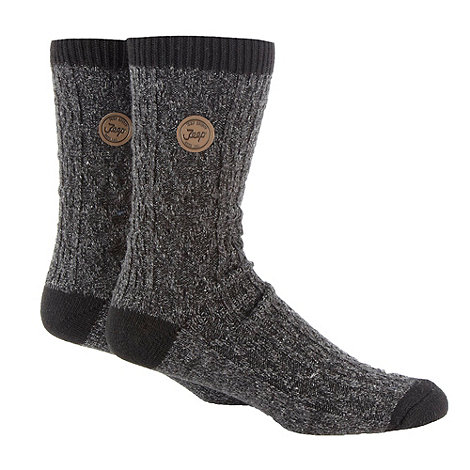 Jeep - Pack of two dark grey cable knitted boot socks