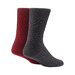 Mantaray - Set of two wool blend textured boot socks