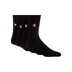 Red Herring - Pack of four black cotton blend socks