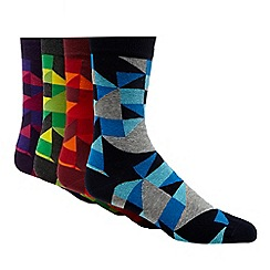Red Herring - Pack of four multi-coloured triangle cotton blend socks