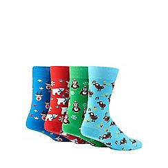 Red Herring - Multi-coloured festive print cotton blend socks