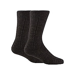 Maine New England - Pack of two grey merino wool blend short socks