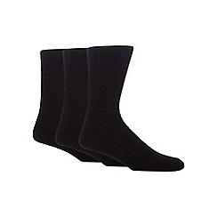 Maine New England - Pack of three black ribbed socks with lambswool