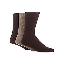 Maine New England - Pack of three brown and light brown ribbed socks with lambswool