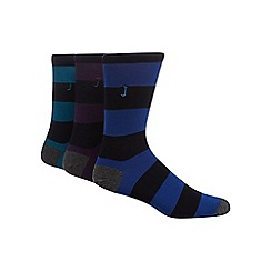 J by Jasper Conran - Pack of three multicoloured striped socks