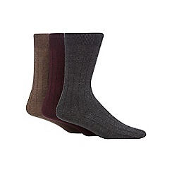 RJR.John Rocha - Pack of three assorted ribbed socks