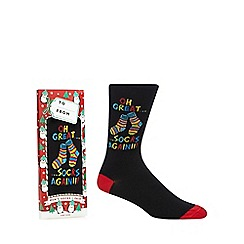 Debenhams Sports - Black 'Oh great...socks again' print socks