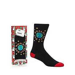 Debenhams Sports - Black 'Worlds best dad' print socks
