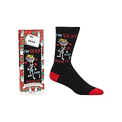Debenhams - Black 'I'm sexy and I know it' print socks