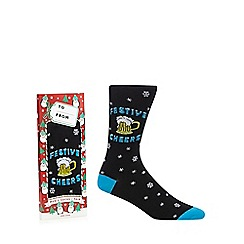 Debenhams - Black 'Festive cheers' print socks