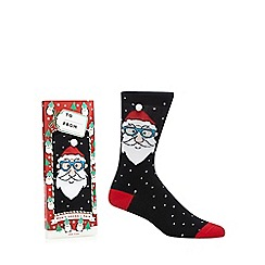 Debenhams - Navy Santa print socks