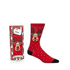 Debenhams Sports - Red reindeer print socks
