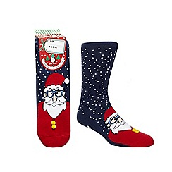 Debenhams - Navy Santa print slipper socks