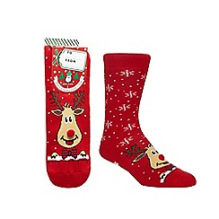 Debenhams Sports - Red reindeer print slipper socks