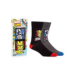 Marvel - Pack of two multi-coloured 'Iron Man' and 'Captain America' socks in a gift box
